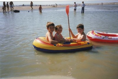 Our children having fun at Camber Sands, Rye, East Sussex